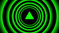 Growing arrow sign surrounded by green blurred circles - visual illusion. Stock Footage
