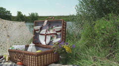 Retro picnic by the river 4 Stock Footage
