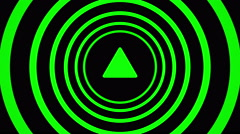Growing arrow sign surrounded by green circles - visual illusion. Stock Footage