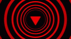 Falling arrow sign surrounded by red circles - visual illusion. Stock Footage