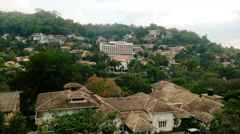 Peaceful green resort town, beautiful cityscape, old buildings among trees Stock Footage