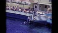 1968: aquarium trainer rewards marine mammals by feeding them  Stock Footage