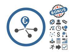 Euro Bank Branches Flat Vector Icon With Bonus Stock Illustration