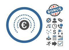 Euro Financial Sphere Shield Flat Vector Icon With Bonus Stock Illustration