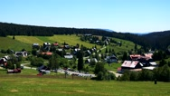 Small village in the nature between forests - sunny day Stock Footage