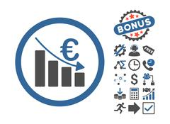 Euro Recession Flat Vector Icon With Bonus Stock Illustration