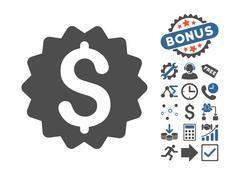 Financial Reward Seal Flat Vector Icon With Bonus Stock Illustration