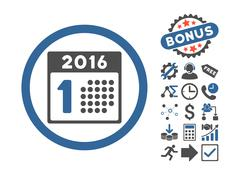 First 2016 Day Flat Vector Icon With Bonus Stock Illustration