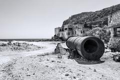 Beach near abandoned sulphur mines, Milos island, Cyclades, Greece Stock Photos