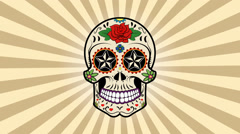Day of the dead. Sugar skull animation. Stock Footage