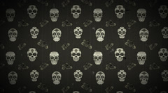 Animation of abstract seamless pattern with sugar skulls Stock Footage