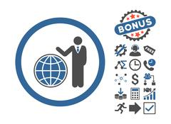 Global Manager Flat Vector Icon With Bonus Stock Illustration