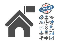 Government Building Flat Vector Icon With Bonus Stock Illustration
