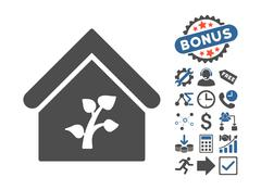 Greenhouse Building Flat Vector Icon With Bonus Stock Illustration