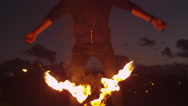 Male Artist Performing Fire Show Outdoors at Evening Time. Stock Footage