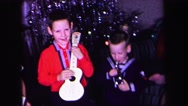 1974: kids playing toy musical instruments LYNBROOK, NEW YORK Stock Footage