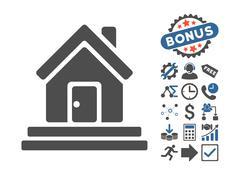 House Front Door Flat Vector Icon With Bonus Stock Illustration