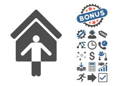 House Owner Wellcome Flat Vector Icon With Bonus Stock Illustration