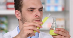Laboratory Specialist Man Work Pour Chemical Substance Liquid Glass Vial Bottle Stock Footage