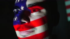 4K American USA Flag Projection Over Man Face Stock Footage