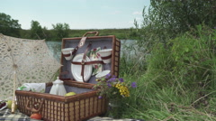 Retro picnic by the river 5 Stock Footage