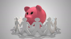 Crowdfunding - crowd funding a start up illustrated with piggybank Stock Footage