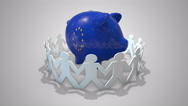 European Union budget - many paper chain people adding money to a blue piggybank Stock Footage