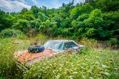 Abandoned, rusty car in the rural Shenandoah Valley, Virginia. Kuvituskuvat