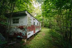 Abandoned trailer in the woods, in the rural Shenandoah Valley, Virginia. Stock Photos