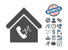 Phone Station Building Flat Vector Icon With Bonus Stock Illustration