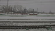 View of rails from train window Stock Footage