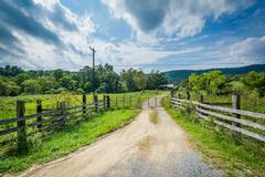Dirt road in the rural Shenandoah Valley, Virginia. Stock Photos