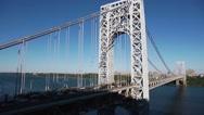 Pan Right Traffic on George Washington Bridge New York Stock Footage