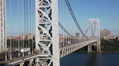 Pan Left Traffic on George Washington Bridge New York Stock Video Stock Footage