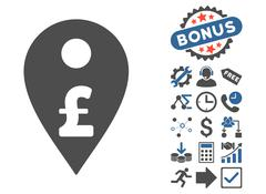 Pound Map Marker Flat Vector Icon With Bonus Stock Illustration