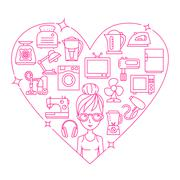 Appliances and woman frame heart vector illustration Stock Illustration