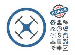 Quadcopter Flat Vector Icon With Bonus Stock Illustration