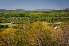 Spring view of the Appalachian Mountains from an overlook on I-64 near Waynes Stock Photos