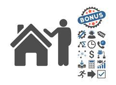 Realty Buyer Flat Vector Icon With Bonus Stock Illustration
