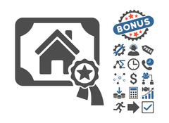 Realty Certification Flat Vector Icon With Bonus Stock Illustration