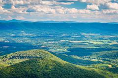 View of the Shenandoah Valley and Appalachian Mountains from the Mill Mountai Stock Photos