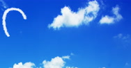Cloud concept written on the blue sky and white clouds, new technology Stock Footage