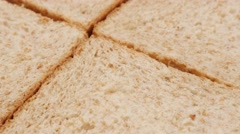 Food concept four pieces  complete  bread made of full grain close-up 4K 2160 Stock Footage