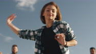Teenage Girl Performing Modern Dance for Group of Friends Outdoors Stock Footage