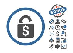 Unlock Banking Lock Flat Vector Icon With Bonus Piirros