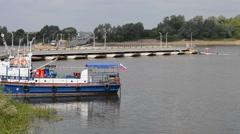 Work pontoon bridge on the river Oka,Russia, Nizhny Novgorod region Stock Footage