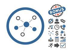 Virtual Links Flat Vector Icon With Bonus Stock Illustration