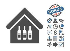 Wine Bar Flat Vector Icon With Bonus Piirros