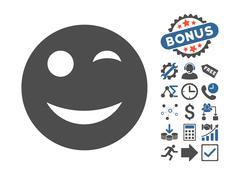 Wink Flat Vector Icon With Bonus Stock Illustration