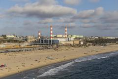 Los Angeles Industrial Waterfront Aerial Stock Photos